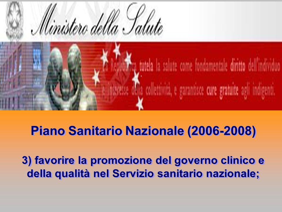 Piano Sanitario Nazionale (2006-2008) 3) favorire la promozione del governo clinico e della qualità nel Servizio sanitario nazionale; Piano Sanitario