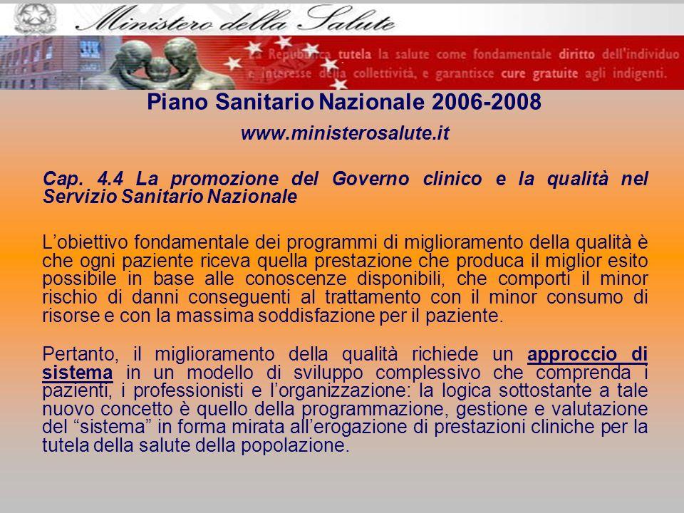 Piano Sanitario Nazionale 2006-2008 www.ministerosalute.it Cap. 4.4 La promozione del Governo clinico e la qualità nel Servizio Sanitario Nazionale Lo