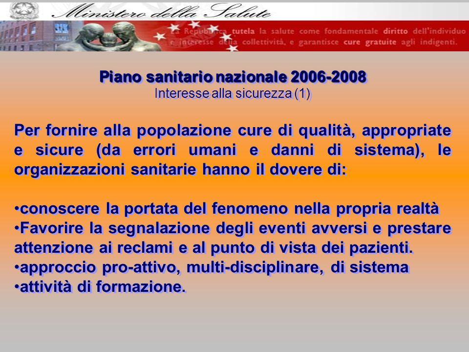 Piano sanitario nazionale 2006-2008 Interesse alla sicurezza (1) Per fornire alla popolazione cure di qualità, appropriate e sicure (da errori umani e