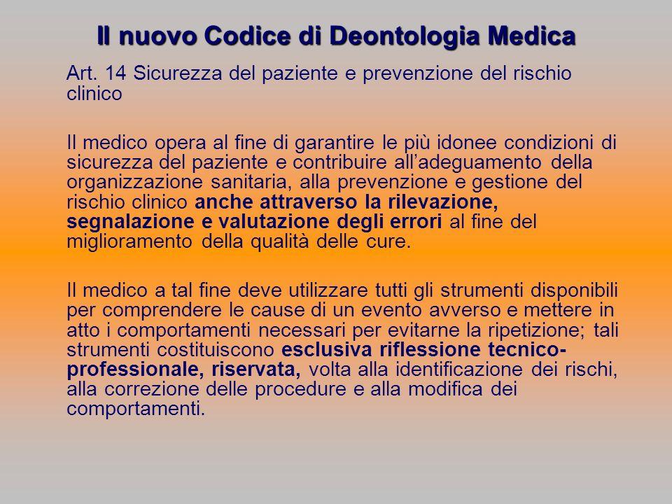 Il nuovo Codice di Deontologia Medica Art. 14 Sicurezza del paziente e prevenzione del rischio clinico Il medico opera al fine di garantire le più ido