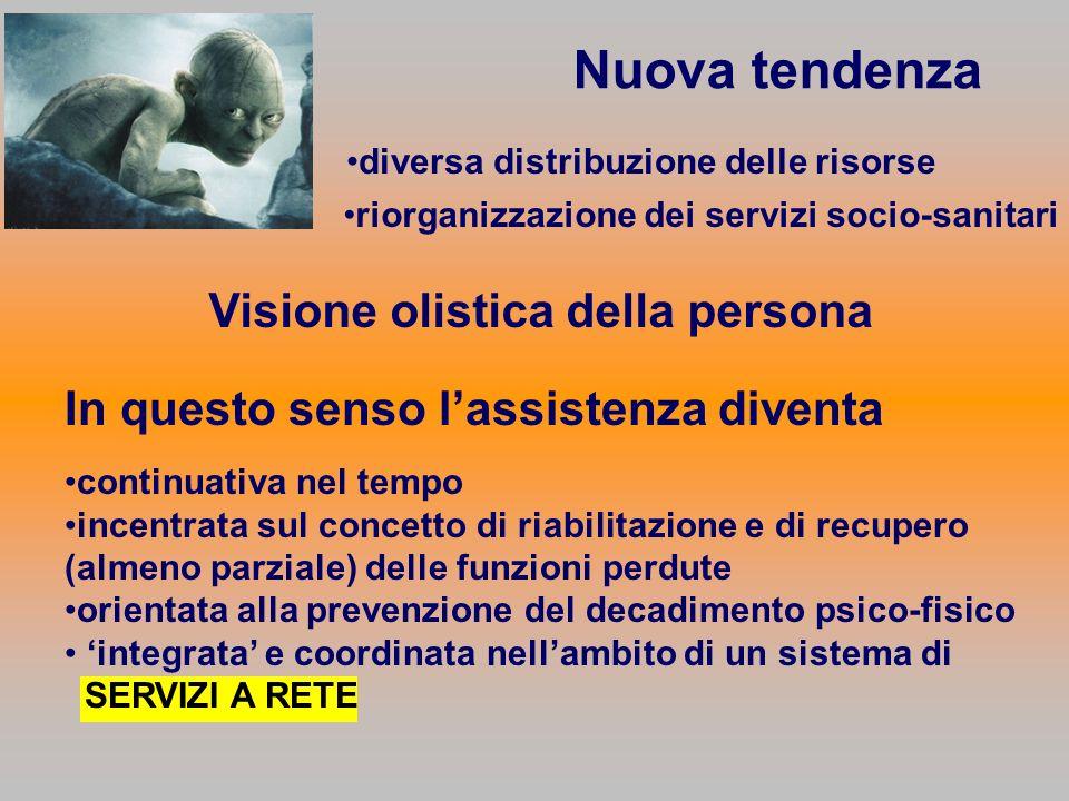 Nuova tendenza diversa distribuzione delle risorse riorganizzazione dei servizi socio-sanitari Visione olistica della persona In questo senso lassiste