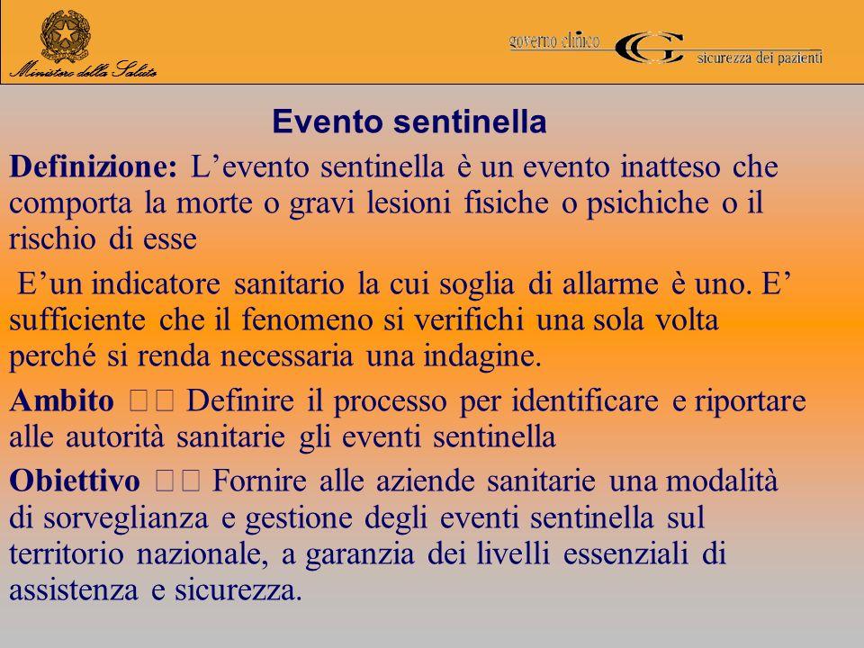 Evento sentinella Definizione: Levento sentinella è un evento inatteso che comporta la morte o gravi lesioni fisiche o psichiche o il rischio di esse