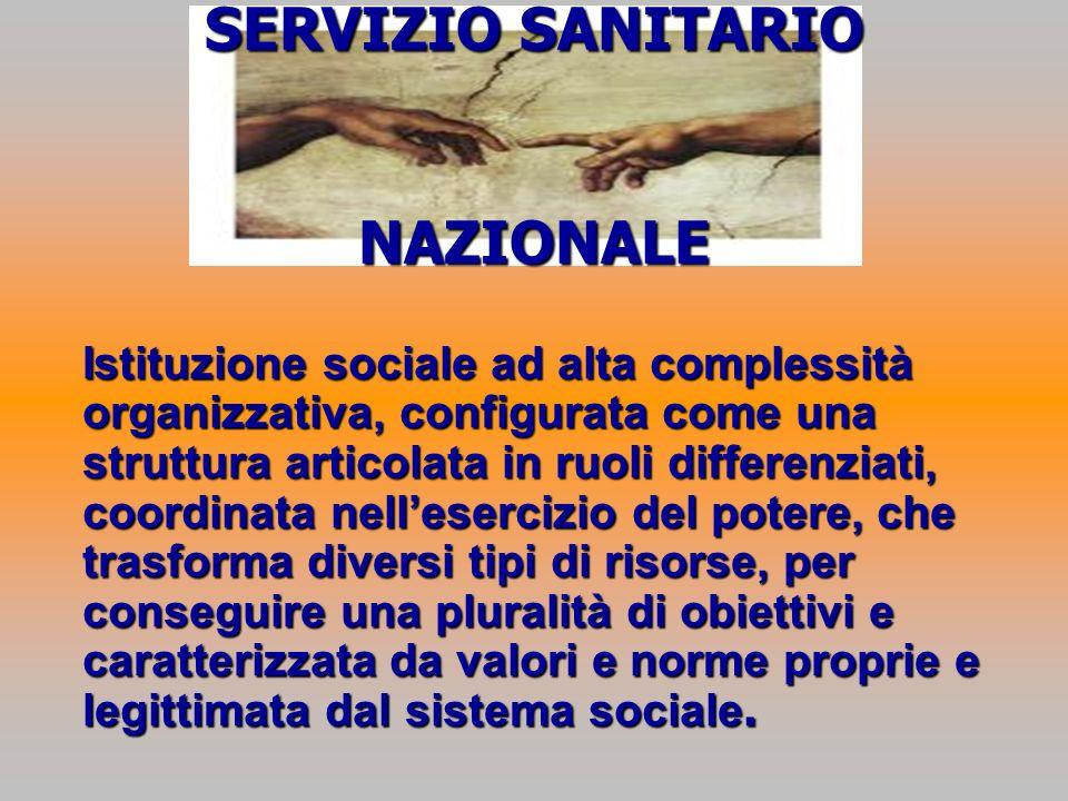 SERVIZIO SANITARIO NAZIONALE Istituzione sociale ad alta complessità organizzativa, configurata come una struttura articolata in ruoli differenziati,