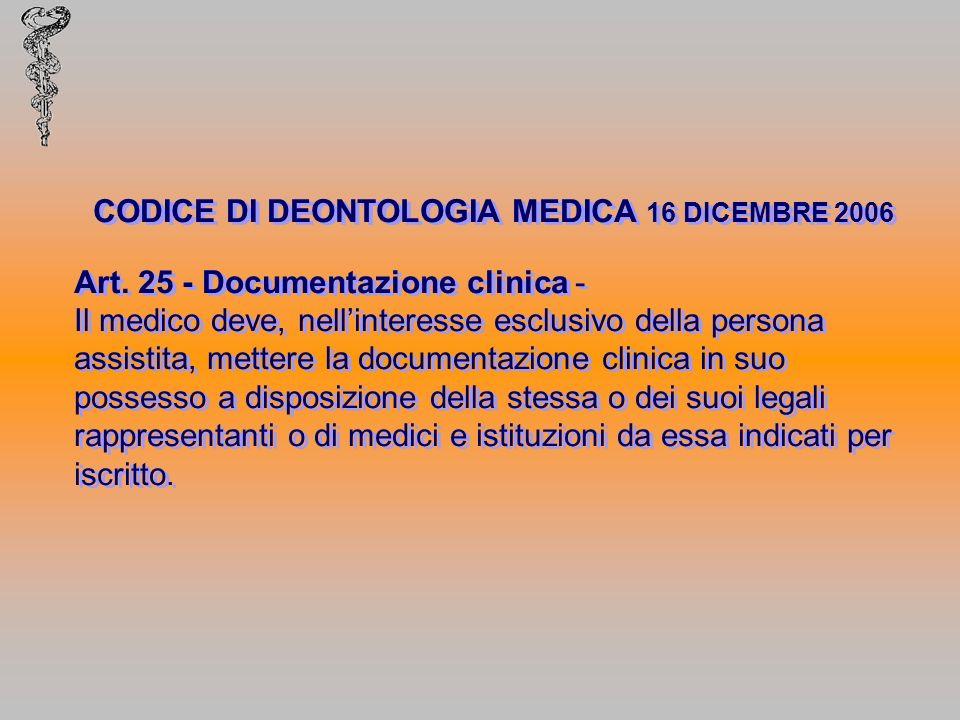 CODICE DI DEONTOLOGIA MEDICA 16 DICEMBRE 2006 Art. 25 - Documentazione clinica - Il medico deve, nellinteresse esclusivo della persona assistita, mett
