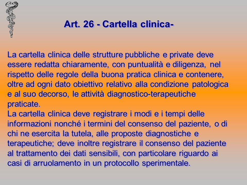 Art. 26 - Cartella clinica- La cartella clinica delle strutture pubbliche e private deve essere redatta chiaramente, con puntualità e diligenza, nel r