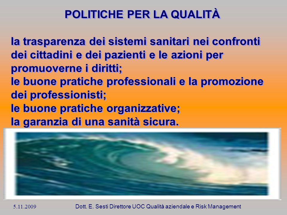 5.11.2009 Dott. E. Sesti Direttore UOC Qualità aziendale e Risk Management POLITICHE PER LA QUALITÀ la trasparenza dei sistemi sanitari nei confronti