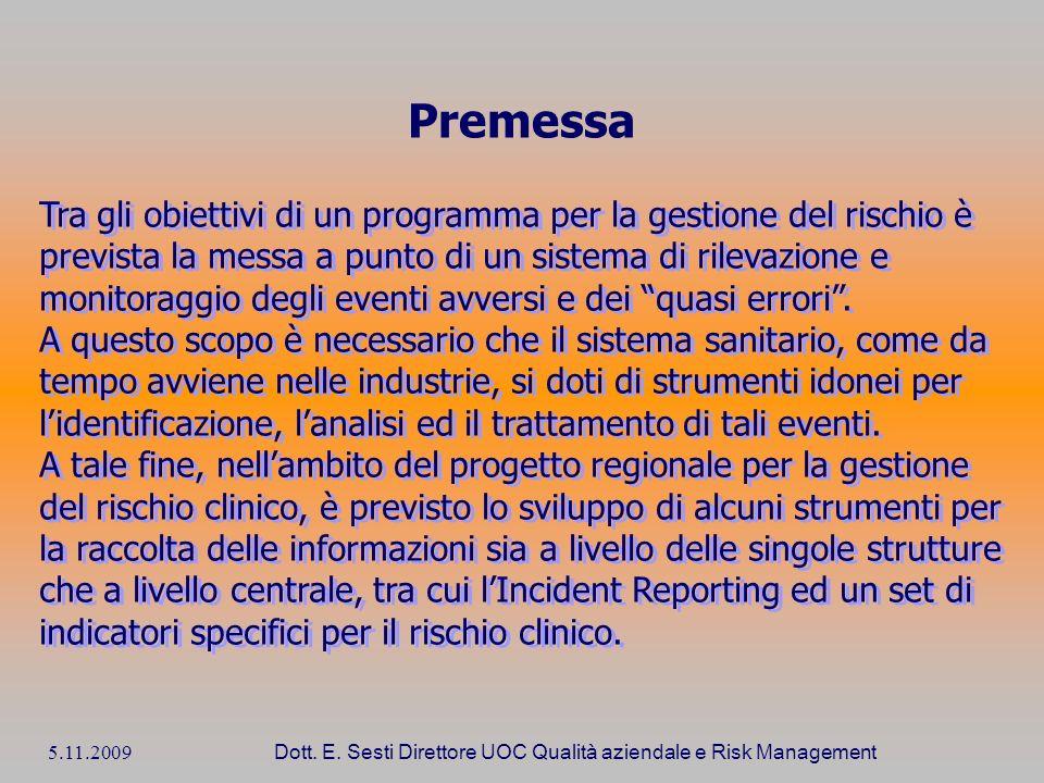 5.11.2009 Dott. E. Sesti Direttore UOC Qualità aziendale e Risk Management Premessa Tra gli obiettivi di un programma per la gestione del rischio è pr