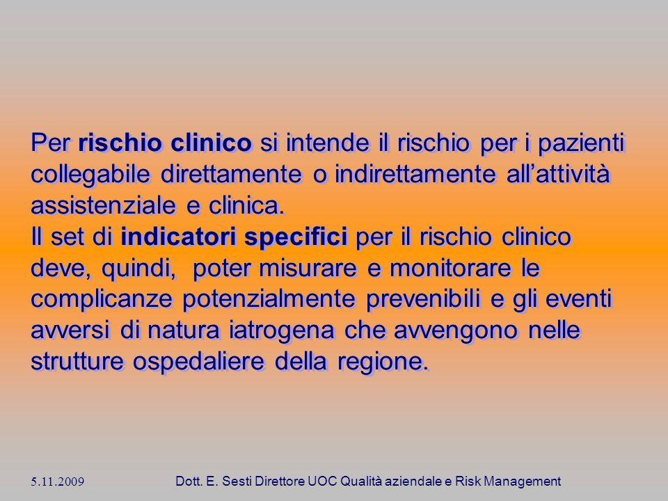 5.11.2009 Dott. E. Sesti Direttore UOC Qualità aziendale e Risk Management Per rischio clinico si intende il rischio per i pazienti collegabile dirett