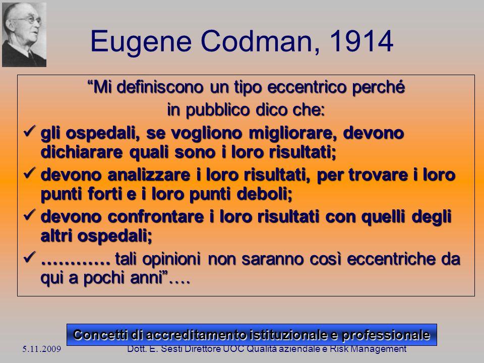 5.11.2009 Dott. E. Sesti Direttore UOC Qualità aziendale e Risk Management Eugene Codman, 1914 Mi definiscono un tipo eccentrico perché in pubblico di