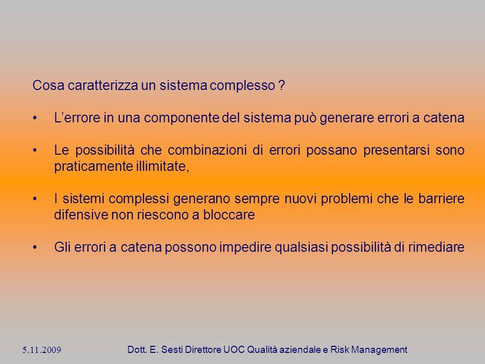5.11.2009 Dott. E. Sesti Direttore UOC Qualità aziendale e Risk Management Cosa caratterizza un sistema complesso ? Lerrore in una componente del sist