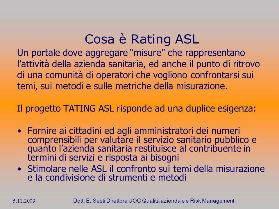 5.11.2009 Dott. E. Sesti Direttore UOC Qualità aziendale e Risk Management Cosa è Rating ASL Un portale dove aggregare misure che rappresentano lattiv