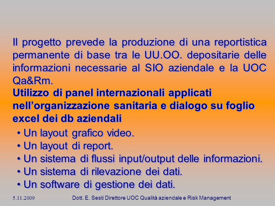 5.11.2009 Dott. E. Sesti Direttore UOC Qualità aziendale e Risk Management Il progetto prevede la produzione di una reportistica permanente di base tr