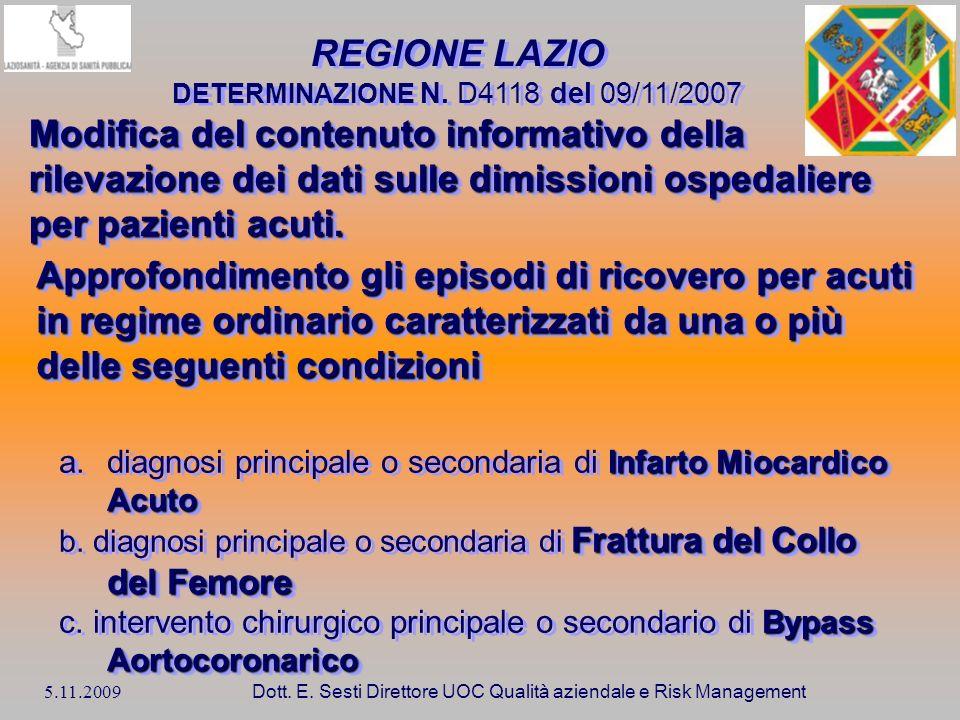 5.11.2009 Dott. E. Sesti Direttore UOC Qualità aziendale e Risk Management REGIONE LAZIO DETERMINAZIONE N. D4118 del 09/11/2007 Modifica del contenuto