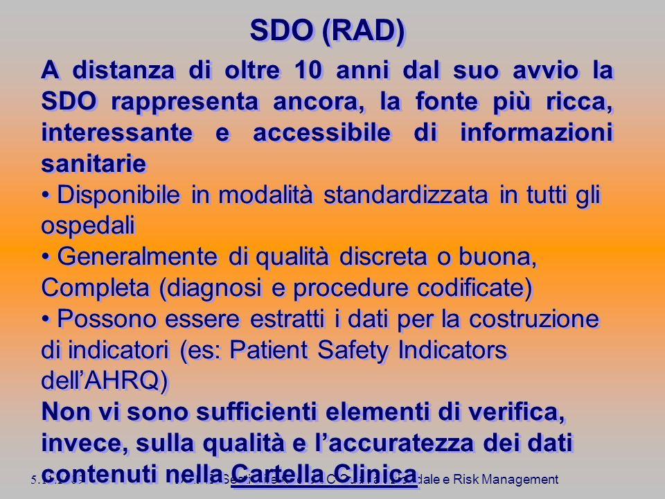 5.11.2009 Dott. E. Sesti Direttore UOC Qualità aziendale e Risk Management SDO (RAD) A distanza di oltre 10 anni dal suo avvio la SDO rappresenta anco