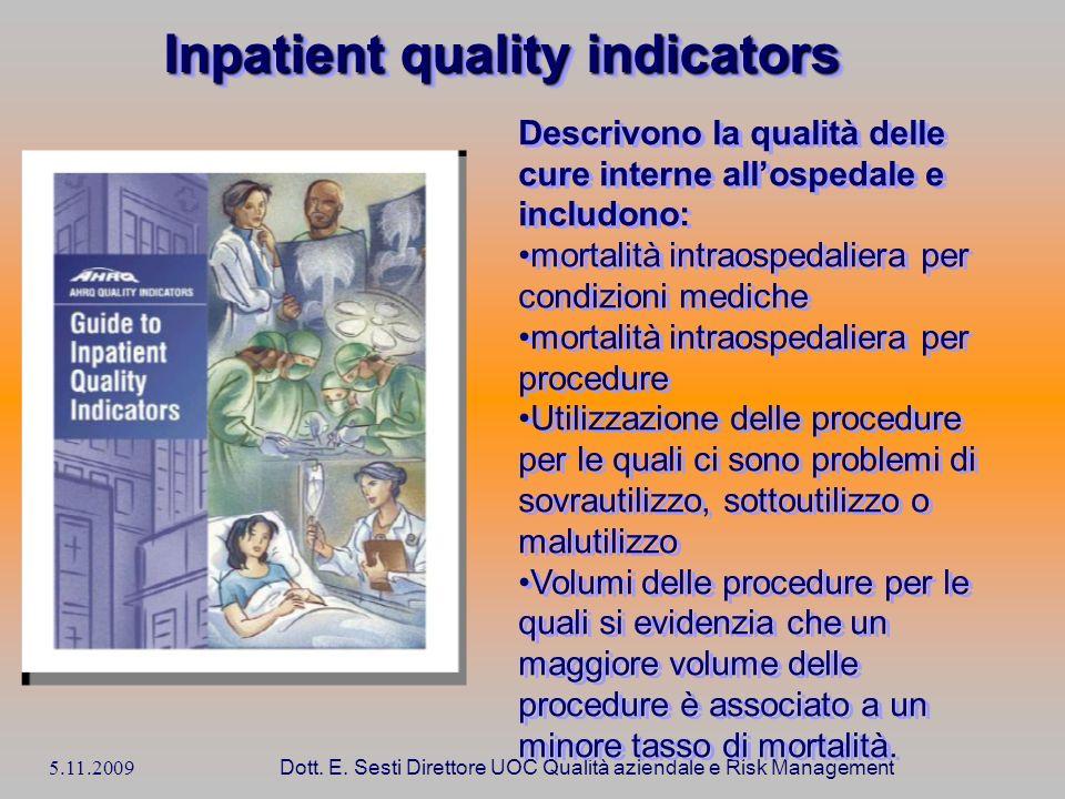 5.11.2009 Dott. E. Sesti Direttore UOC Qualità aziendale e Risk Management Descrivono la qualità delle cure interne allospedale e includono: mortalità
