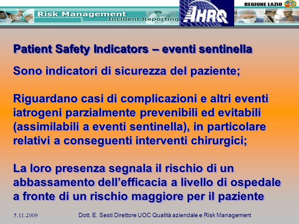 5.11.2009 Dott. E. Sesti Direttore UOC Qualità aziendale e Risk Management Patient Safety Indicators – eventi sentinella Sono indicatori di sicurezza