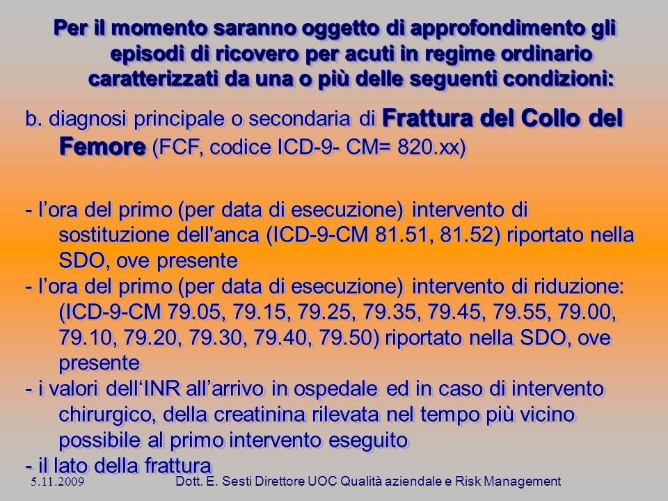 5.11.2009 Dott. E. Sesti Direttore UOC Qualità aziendale e Risk Management Per il momento saranno oggetto di approfondimento gli episodi di ricovero p