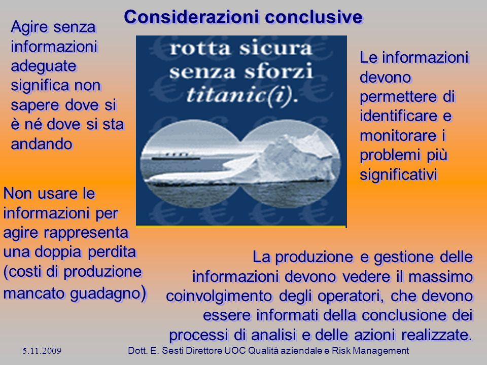 5.11.2009 Dott. E. Sesti Direttore UOC Qualità aziendale e Risk Management Considerazioni conclusive La produzione e gestione delle informazioni devon