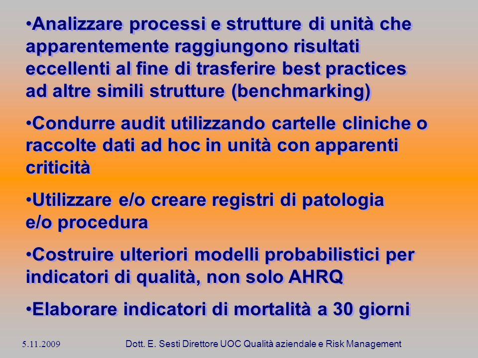 5.11.2009 Dott. E. Sesti Direttore UOC Qualità aziendale e Risk Management Analizzare processi e strutture di unità che apparentemente raggiungono ris