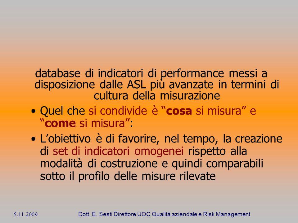 5.11.2009 Dott. E. Sesti Direttore UOC Qualità aziendale e Risk Management database di indicatori di performance messi a disposizione dalle ASL più av