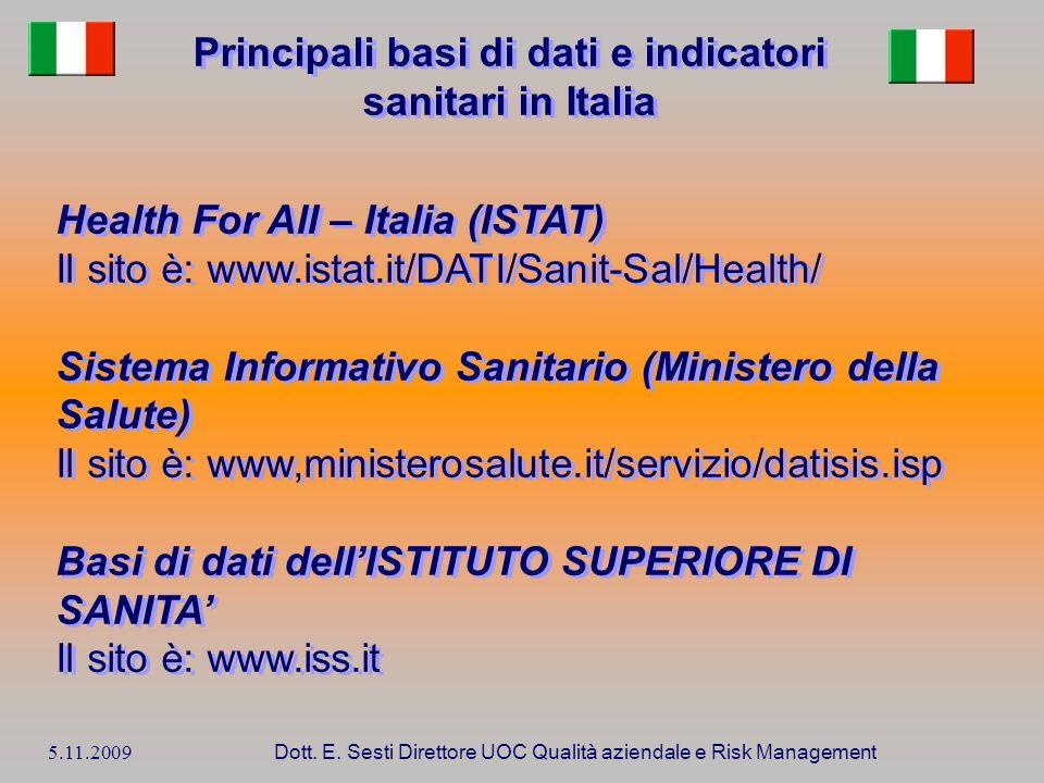 5.11.2009 Dott. E. Sesti Direttore UOC Qualità aziendale e Risk Management Principali basi di dati e indicatori sanitari in Italia Health For All – It