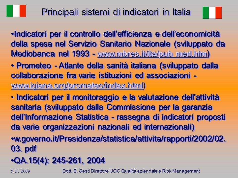 5.11.2009 Dott. E. Sesti Direttore UOC Qualità aziendale e Risk Management Indicatori per il controllo dellefficienza e delleconomicità della spesa ne