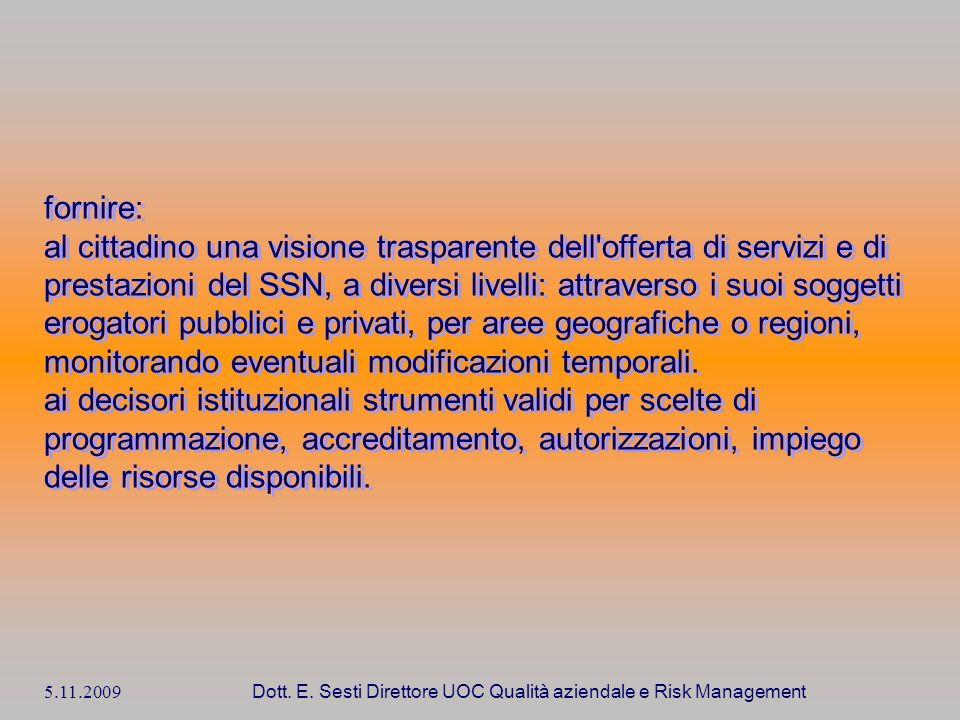 5.11.2009 Dott. E. Sesti Direttore UOC Qualità aziendale e Risk Management fornire: al cittadino una visione trasparente dell'offerta di servizi e di