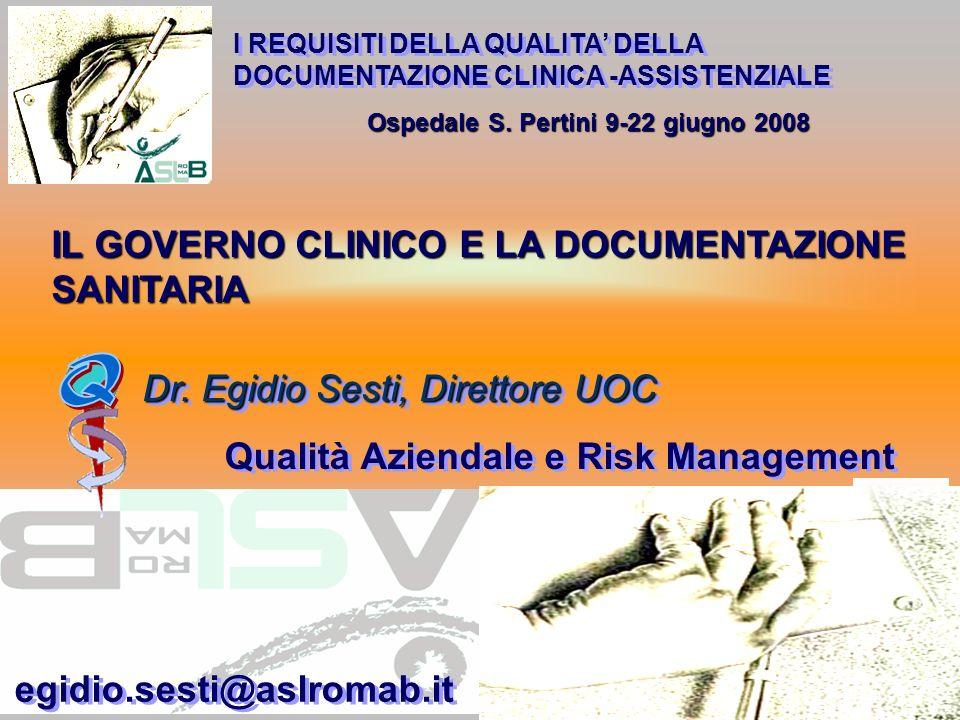 Ospedale S. Pertini 9-22 giugno 2008 Dr. Egidio Sesti, Direttore UOC IL GOVERNO CLINICO E LA DOCUMENTAZIONE SANITARIA I REQUISITI DELLA QUALITA DELLA