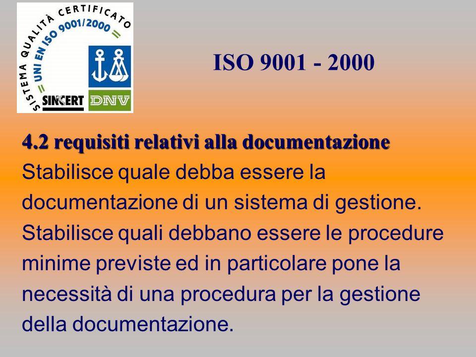 ISO 9001 - 2000 4.2 requisiti relativi alla documentazione Stabilisce quale debba essere la documentazione di un sistema di gestione. Stabilisce quali