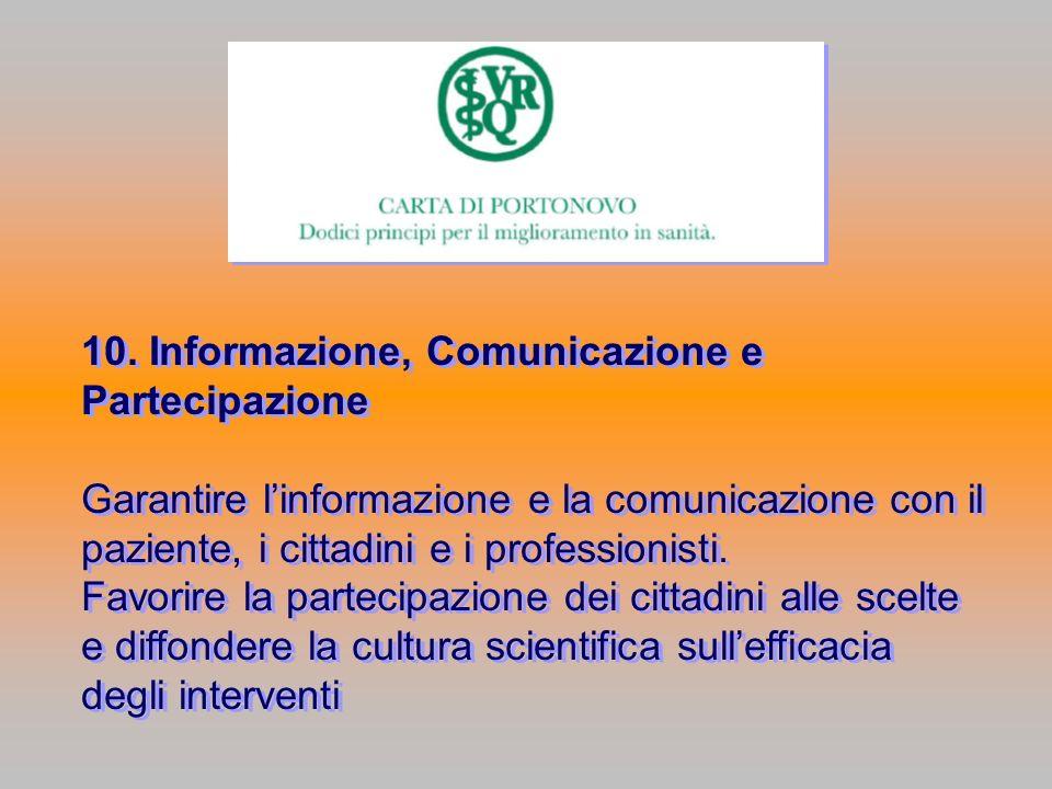 10. Informazione, Comunicazione e Partecipazione Garantire linformazione e la comunicazione con il paziente, i cittadini e i professionisti. Favorire