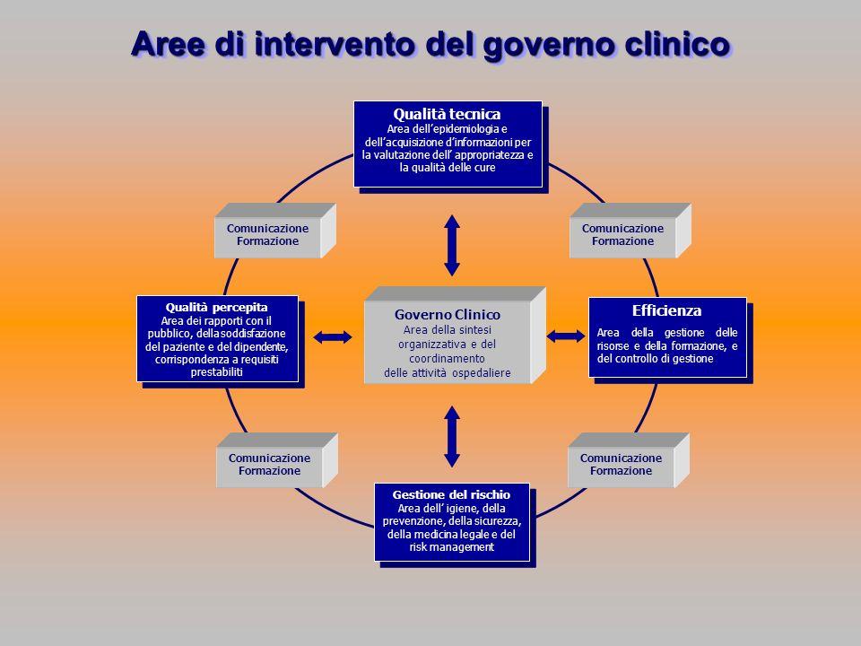 Governo Clinico Area della sintesi organizzativa e del coordinamento delle attività ospedaliere Gestione del rischio Area dell igiene, della prevenzio