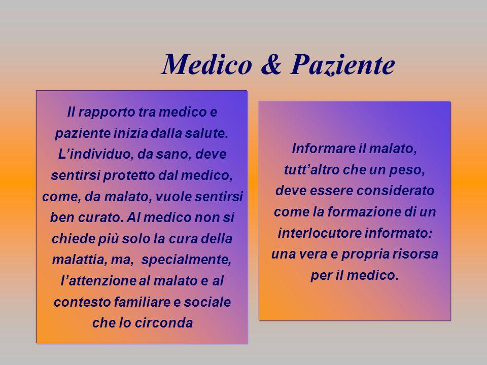 Medico & Paziente Il rapporto tra medico e paziente inizia dalla salute. Lindividuo, da sano, deve sentirsi protetto dal medico, come, da malato, vuol