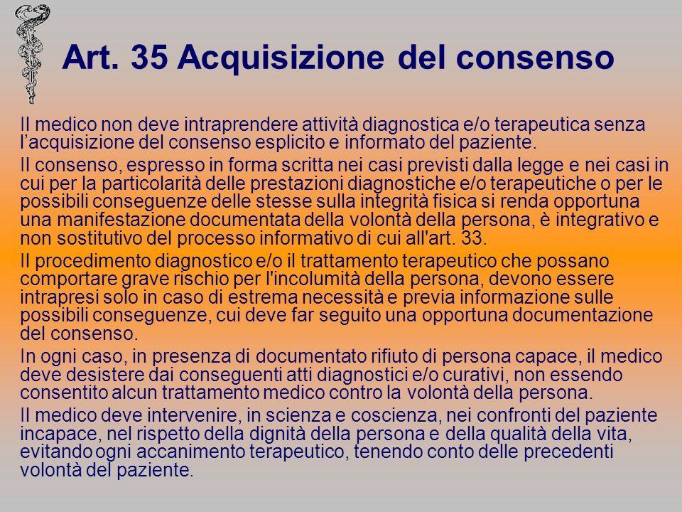 Art. 35 Acquisizione del consenso Il medico non deve intraprendere attività diagnostica e/o terapeutica senza lacquisizione del consenso esplicito e i