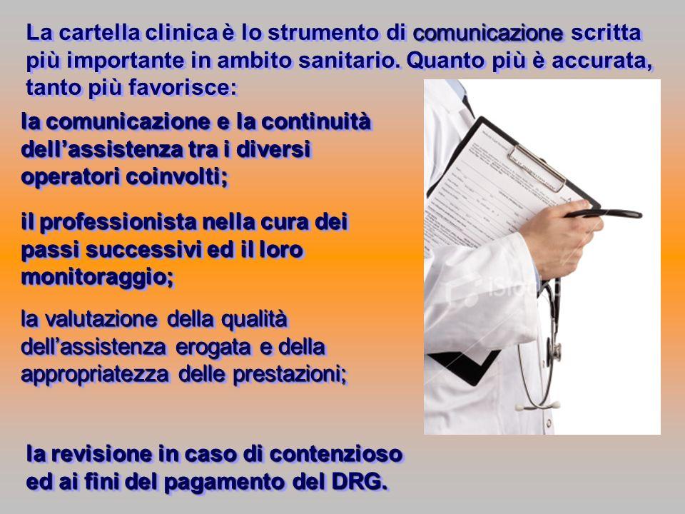 comunicazione La cartella clinica è lo strumento di comunicazione scritta più importante in ambito sanitario. Quanto più è accurata, tanto più favoris