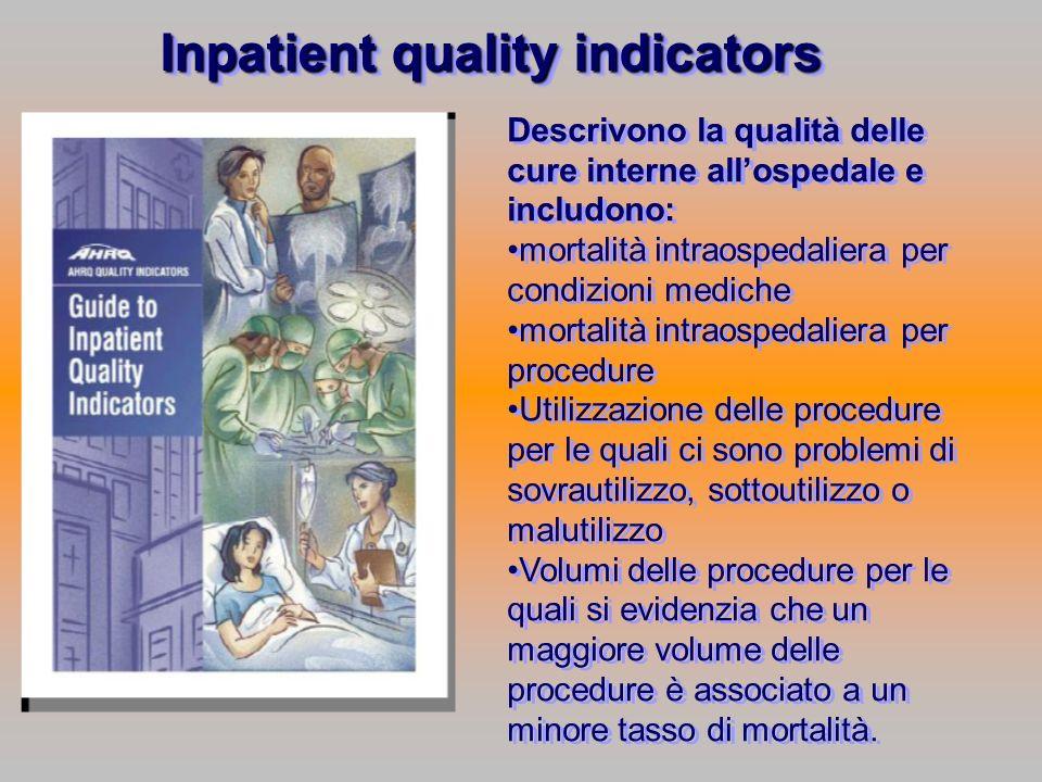 Descrivono la qualità delle cure interne allospedale e includono: mortalità intraospedaliera per condizioni mediche mortalità intraospedaliera per pro