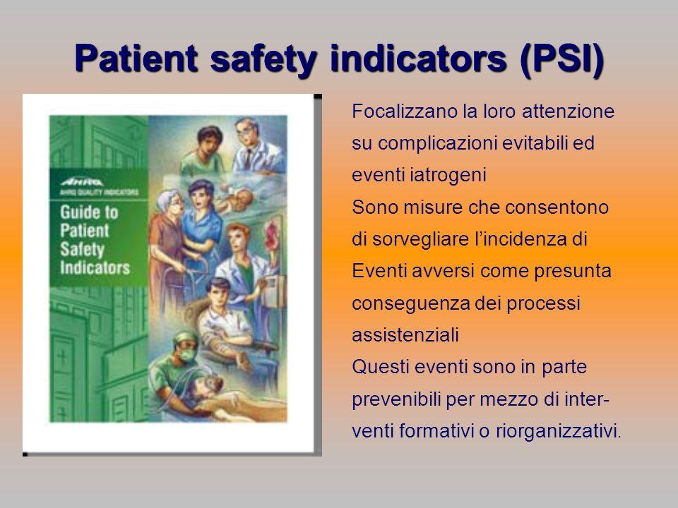 Patient safety indicators (PSI) Focalizzano la loro attenzione su complicazioni evitabili ed eventi iatrogeni Sono misure che consentono di sorvegliar