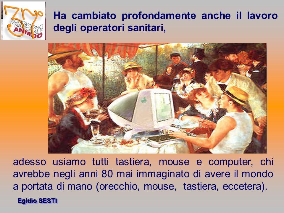 Egidio SESTI adesso usiamo tutti tastiera, mouse e computer, chi avrebbe negli anni 80 mai immaginato di avere il mondo a portata di mano (orecchio, mouse, tastiera, eccetera).
