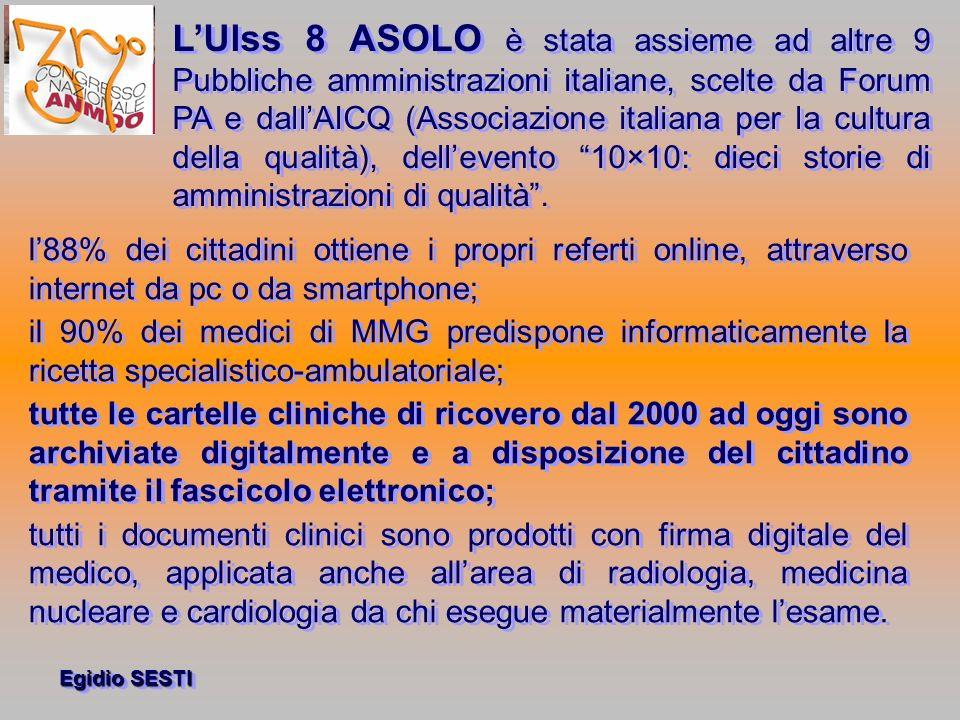 Egidio SESTI LUlss 8 ASOLO è stata assieme ad altre 9 Pubbliche amministrazioni italiane, scelte da Forum PA e dallAICQ (Associazione italiana per la cultura della qualità), dellevento 10×10: dieci storie di amministrazioni di qualità.