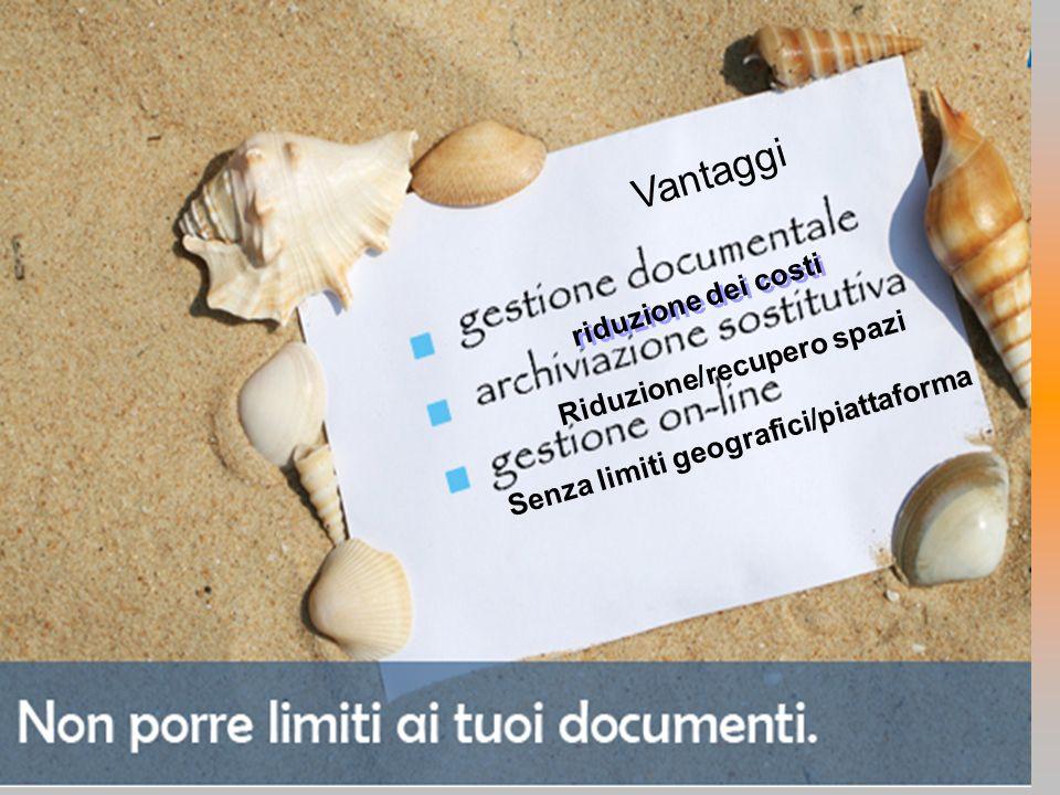 Egidio SESTI riduzione dei costi Senza limiti geografici/piattaforma Vantaggi Riduzione/recupero spazi