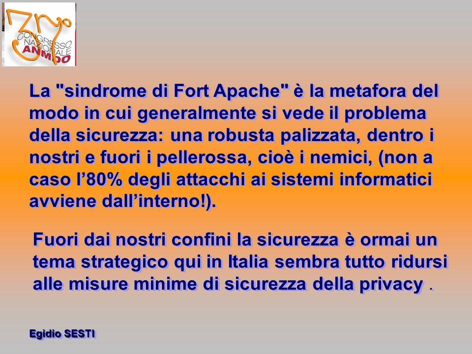 Egidio SESTI La sindrome di Fort Apache è la metafora del modo in cui generalmente si vede il problema della sicurezza: una robusta palizzata, dentro i nostri e fuori i pellerossa, cioè i nemici, (non a caso l80% degli attacchi ai sistemi informatici avviene dallinterno!).