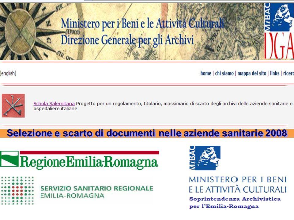 Egidio SESTI Procedura per la gestione degli archivi e per la conservazione di documenti amministrativi e sanitari Cod.