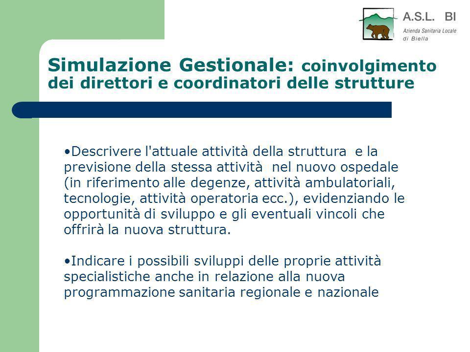 Simulazione Gestionale: coinvolgimento dei direttori e coordinatori delle strutture Descrivere l'attuale attività della struttura e la previsione dell