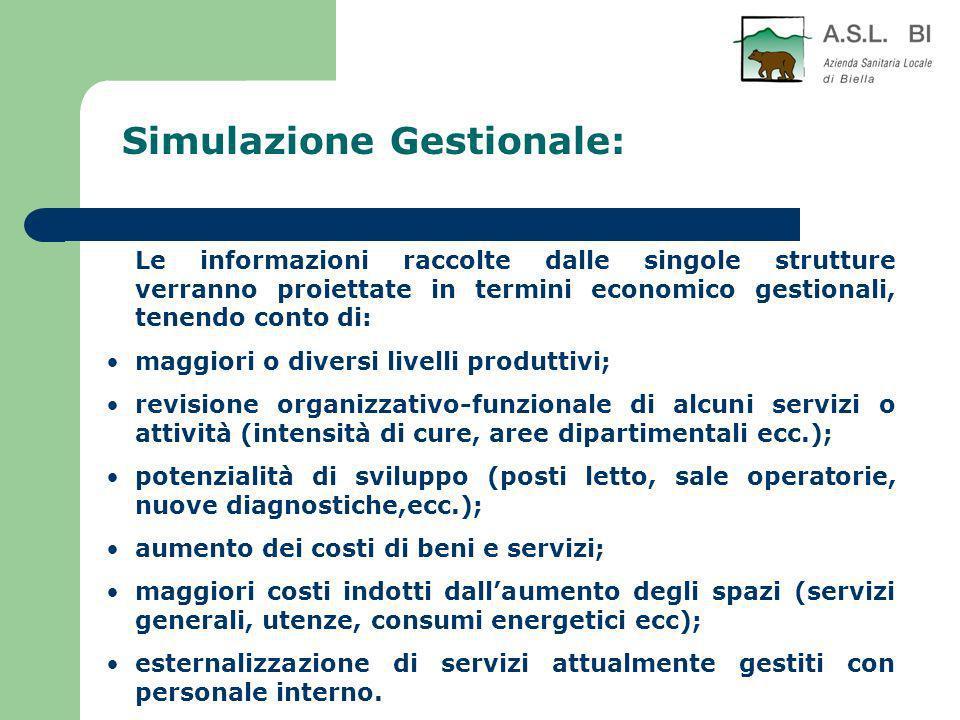 Simulazione Gestionale: Le informazioni raccolte dalle singole strutture verranno proiettate in termini economico gestionali, tenendo conto di: maggio