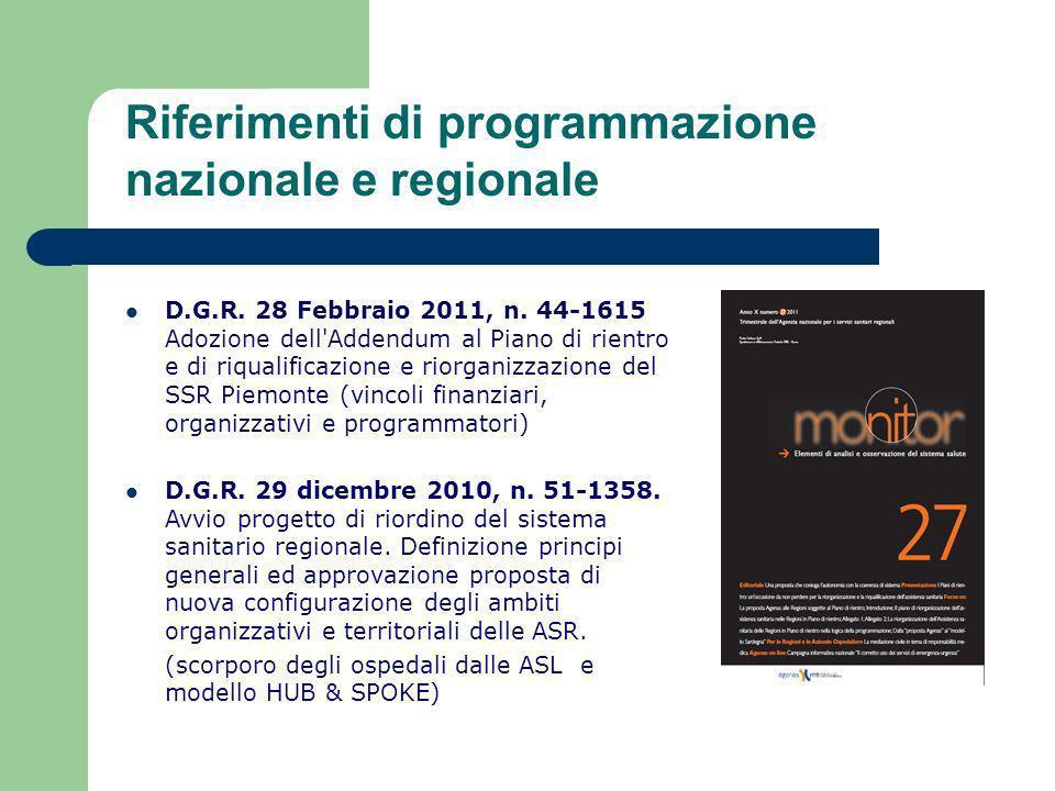 Riferimenti di programmazione nazionale e regionale D.G.R. 28 Febbraio 2011, n. 44-1615 Adozione dell'Addendum al Piano di rientro e di riqualificazio