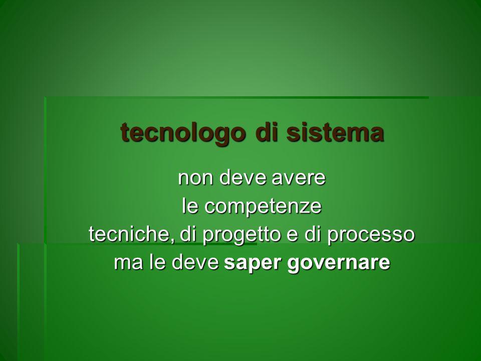 tecnologo di sistema non deve avere le competenze tecniche, di progetto e di processo ma le deve saper governare