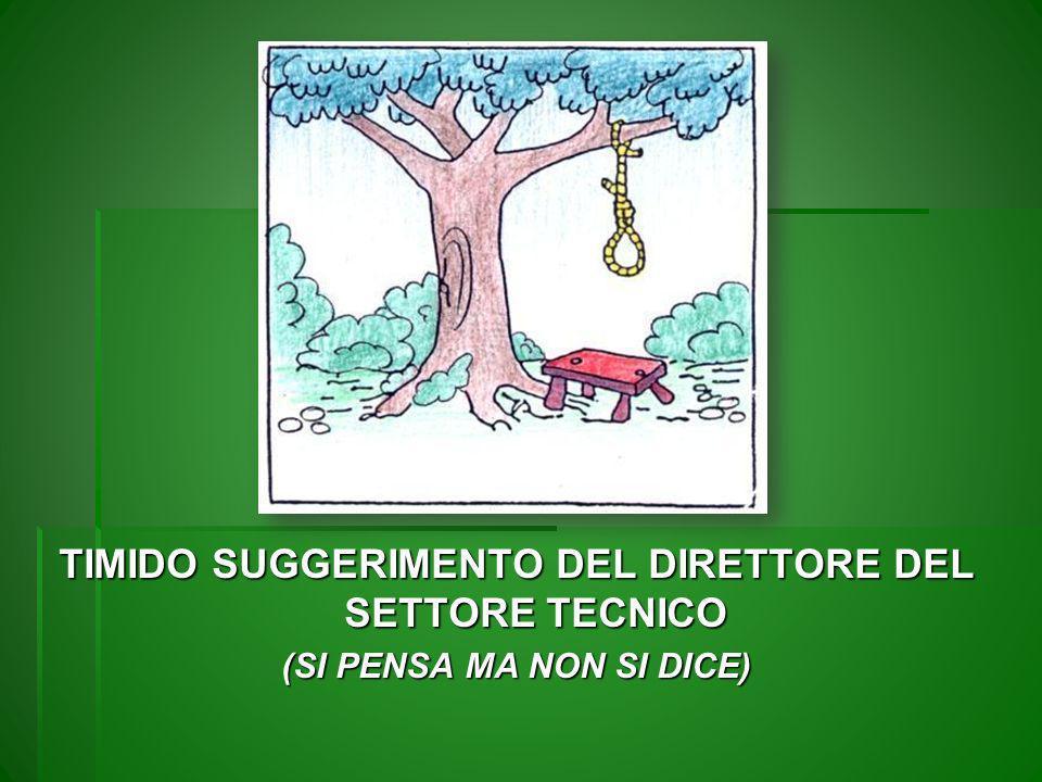 TIMIDO SUGGERIMENTO DEL DIRETTORE DEL SETTORE TECNICO (SI PENSA MA NON SI DICE)