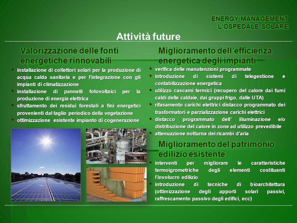 Attività future installazione di collettori solari per la produzione di acqua calda sanitaria e per lintegrazione con gli impianti di climatizzazione installazione di collettori solari per la produzione di acqua calda sanitaria e per lintegrazione con gli impianti di climatizzazione installazione di pannelli fotovoltaici per la produzione di energia elettrica installazione di pannelli fotovoltaici per la produzione di energia elettrica sfruttamento dei residui forestali a fini energetici provenienti dal taglio periodico della vegetazione sfruttamento dei residui forestali a fini energetici provenienti dal taglio periodico della vegetazione ottimizzazione esistente impianto di cogenerazione ottimizzazione esistente impianto di cogenerazione verifica delle manutenzioni programmate verifica delle manutenzioni programmate introduzione di sistemi di telegestione e contabilizzazione energetica introduzione di sistemi di telegestione e contabilizzazione energetica utilizzo cascami termici (recupero del calore dai fumi caldi delle caldaie, dai gruppi frigo, dalle UTA) utilizzo cascami termici (recupero del calore dai fumi caldi delle caldaie, dai gruppi frigo, dalle UTA) rifasamento carichi elettrici distacco programmato dei trasformatori e parzializzazione carichi elettrici rifasamento carichi elettrici distacco programmato dei trasformatori e parzializzazione carichi elettrici distacco programmato dell illuminazione e/o distribuzione del calore in zone ad utilizzo prevedibile distacco programmato dell illuminazione e/o distribuzione del calore in zone ad utilizzo prevedibile attenuazione notturna dei ricambi daria attenuazione notturna dei ricambi daria interventi per migliorare le caratteristiche termoigrometriche degli elementi costituenti linvolucro edilizio interventi per migliorare le caratteristiche termoigrometriche degli elementi costituenti linvolucro edilizio introduzione di tecniche di bioarchitettura (ottimizzazione degli apporti solari passivi, raffrescamento