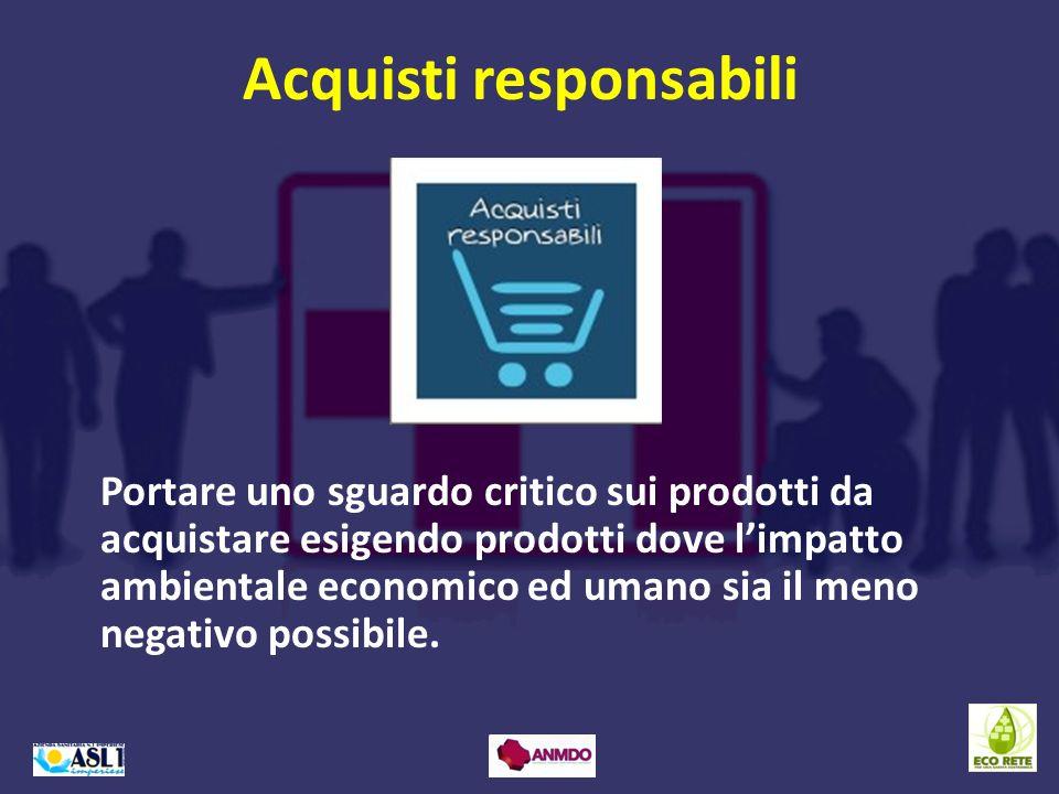 Portare uno sguardo critico sui prodotti da acquistare esigendo prodotti dove limpatto ambientale economico ed umano sia il meno negativo possibile. A