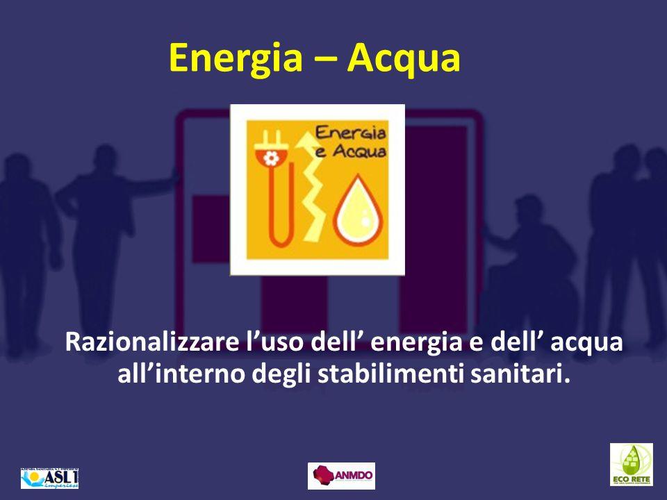 Razionalizzare luso dell energia e dell acqua allinterno degli stabilimenti sanitari. Energia – Acqua