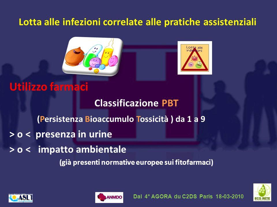 Lotta alle infezioni correlate alle pratiche assistenziali Utilizzo farmaci Classificazione PBT (Persistenza Bioaccumulo Tossicità ) da 1 a 9 > o < pr